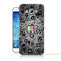 Teknomeg Samsung Galaxy A8 Renkli Tv Baskılı Silikon Kılıf
