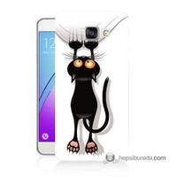 Teknomeg Samsung Galaxy A7 2016 Kılıf Kapak Kara Kedi Baskılı Silikon