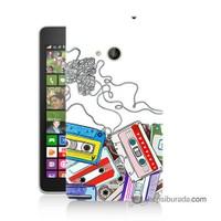 Teknomeg Nokia Lumia 535 Kapak Kılıf Kasetler Baskılı Silikon