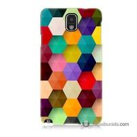 Teknomeg Samsung Galaxy Note 3 Kapak Kılıf Renkli Petek Baskılı Silikon