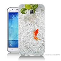 Teknomeg Samsung Galaxy J7 Kapak Kılıf Kırmızı Balık Baskılı Silikon