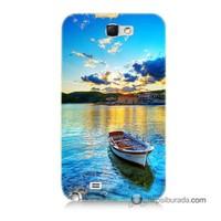 Teknomeg Samsung Galaxy Note 2 Kılıf Kapak Gün Batımında Deniz Baskılı Silikon