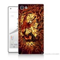 Teknomeg Sony Xperia Z5 Mini Ateşli Aslan Baskılı Silikon Kılıf