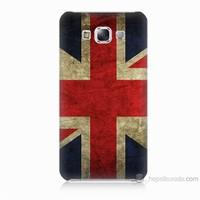 Teknomeg Samsung Galaxy E7 Kapak Kılıf İngiltere Bayrağı Baskılı Silikon