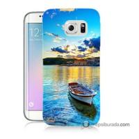 Teknomeg Samsung Galaxy S6 Edge Kılıf Kapak Gün Batımında Deniz Baskılı Silikon