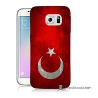 Teknomeg Samsung Galaxy S6 Edge Kılıf Kapak Türkiye Bayrağı Baskılı Silikon