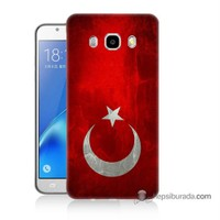 Teknomeg Samsung J5 2016 Kılıf Kapak Türkiye Bayrağı Baskılı Silikon