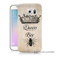 Teknomeg Samsung Galaxy S6 Edge Plus Kılıf Kapak Queen Bee Baskılı Silikon
