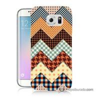Teknomeg Samsung Galaxy S6 Edge Plus Kapak Kılıf Patchwork Baskılı Silikon