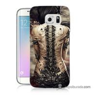Teknomeg Samsung Galaxy S6 Edge Plus Kılıf Kapak Mekanik Kız Baskılı Silikon
