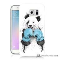 Teknomeg Samsung Galaxy S6 Edge Plus Kılıf Kapak Boksör Panda Baskılı Silikon
