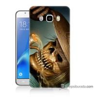 Teknomeg Samsung J5 2016 Kapak Kılıf Pipolu Kurukafa Baskılı Silikon