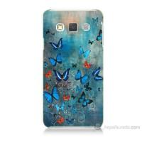 Teknomeg Samsung Galaxy A7 Kapak Kılıf Kelebekler Baskılı Silikon