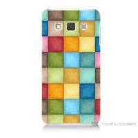 Teknomeg Samsung Galaxy A7 Kapak Kılıf Renkli Kareler Baskılı Silikon