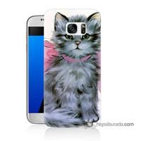 Teknomeg Samsung Galaxy S7 Kılıf Kapak Papyonlu Kedi Baskılı Silikon