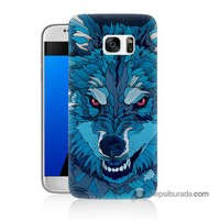 Teknomeg Samsung Galaxy S7 Kılıf Kapak Mavi Kurt Baskılı Silikon