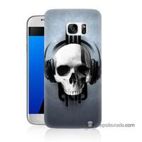 Teknomeg Samsung Galaxy S7 Kılıf Kapak Müzik Dinleyen Kurukafa Baskılı Silikon