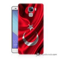 Teknomeg Huawei Honor 7 Kapak Kılıf Türkiye Bayrağı Baskılı Silikon
