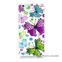 Teknomeg İphone 6 Plus Kapak Kılıf Renkli Kelebekler Baskılı Silikon