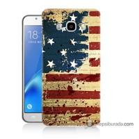 Teknomeg Samsung J5 2016 Kılıf Kapak Amerika Bayrağı Baskılı Silikon