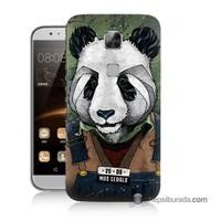 Teknomeg Huawei Ascend G8 Kapak Kılıf İşçi Panda Baskılı Silikon