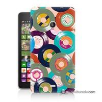 Teknomeg Nokia Lumia 535 Kapak Kılıf Renkli Plaklar Baskılı Silikon