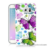 Teknomeg Samsung Galaxy S6 Edge Plus Kapak Kılıf Renkli Kelebekler Baskılı Silikon