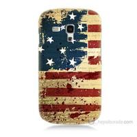 Teknomeg Samsung Galaxy S3 Mini Amerika Bayrağı Baskılı Silikon Kılıf