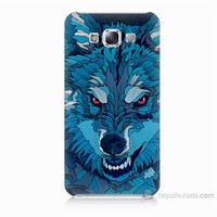 Teknomeg Samsung Galaxy E5 Mavi Kurt Baskılı Silikon Kılıf