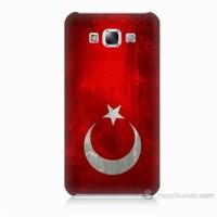 Teknomeg Samsung Galaxy E5 Türkiye Bayrağı Baskılı Silikon Kılıf