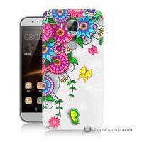 Teknomeg Huawei G8 Kapak Kılıf Çiçek Ve Kelebek Baskılı Silikon