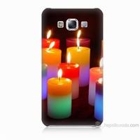 Teknomeg Samsung Galaxy E7 Kapak Kılıf Mumlar Baskılı Silikon