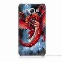 Teknomeg Samsung Galaxy E7 Kapak Kılıf Dragon Baskılı Silikon