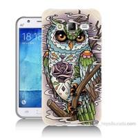 Teknomeg Samsung Galaxy J7 Kapak Kılıf Çiçekli Baykuş Baskılı Silikon