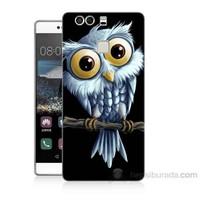 Teknomeg Huawei P9 Beyaz Baykuş Baskılı Silikon Kapak Kılıf