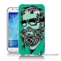 Teknomeg Samsung Galaxy J7 Kılıf Kapak Beard Art Baskılı Silikon