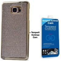 Teleplus Samsung Galaxy Note 5 Taşlı Kapak Kılıf Gri + Kırılma Cam Ekran Koruyucu
