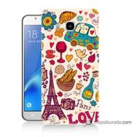 Teknomeg Samsung J7 2016 Kapak Kılıf Paris Love Baskılı Silikon