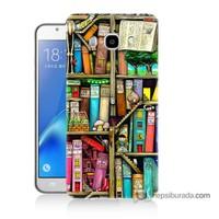 Teknomeg Samsung J7 2016 Kapak Kılıf Kitaplık Baskılı Silikon
