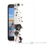 Teknomeg Turkcell T70 Kediler Baskılı Silikon Kapak Kılıf