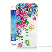 Teknomeg Samsung Galaxy A8 Kapak Kılıf Çiçek Ve Kelebek Baskılı Silikon