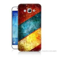 Teknomeg Samsung Galaxy A8 Kapak Kılıf Renkli Metal Baskılı Silikon