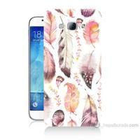 Teknomeg Samsung Galaxy A8 Kapak Kılıf Renkli Tüyler Baskılı Silikon