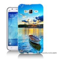 Teknomeg Samsung Galaxy J5 Kılıf Kapak Gün Batımında Deniz Baskılı Silikon