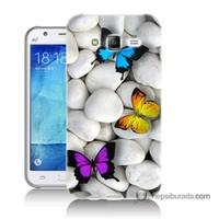 Teknomeg Samsung Galaxy J5 Kılıf Kapak Kelebekler Baskılı Silikon