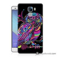 Teknomeg Huawei Honor 7 Kapak Kılıf Renkli Baykuş Baskılı Silikon