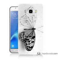 Teknomeg Samsung J7 2016 Kapak Kılıf Kanatsız Kelebek Baskılı Silikon
