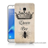 Teknomeg Samsung J7 2016 Kılıf Kapak Queen Bee Baskılı Silikon