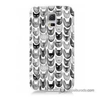 Teknomeg Samsung Galaxy S5 Kapak Kılıf Kediler Baskılı Silikon