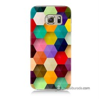 Teknomeg Samsung Galaxy S6 Kapak Kılıf Renkli Petek Baskılı Silikon